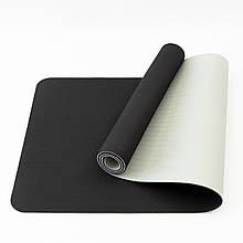 Килимок для йоги та фітнесу (йога мат) OSPORT Premium TPE+TC 183х61см товщина 6мм (FI-0076) чорно-сірий