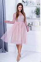 Красивое вечернее нарядное приталенное платье с ажурным рукавом и пышной юбкой. р.42-46. Арт-4965/34, фото 1
