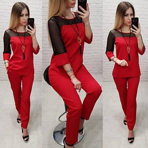 Костюм жіночий повсякденний креп-костюмка + сітка 42-56 розміри