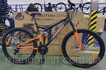 """Горный велосипед Azimut Power 26 дюймов. Дисковые тормоза. Рама 19.5"""". Черно-оранжевый"""