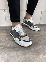 Мужские кроссовки серо-бежевые