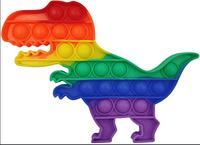 Сенсорная игрушка Динозавр  антистресс, человечек, цветок, круг, ромб, восьмиугольник, пупырка радужная