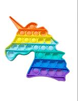 Сенсорная игрушка Единорог Радужный антистресс, человечек, цветок, ромб, восьмиугольник, пупырка радужная