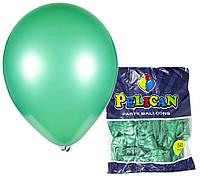 Воздушные шарики Pelican 10(26 см) перламутр зеленый бутылочный, 50 шт, арт.1050-712
