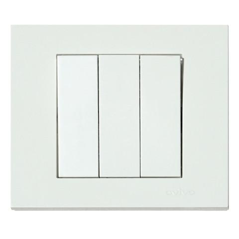 Вимикач 3-клавішний білий GRANO