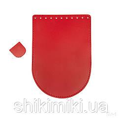 Клапан для сумки из натуральной кожи (20*14), цвет красный