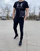 Спортивный костюм мужской Under Armour Андер Армор черный летний весенний Комплект Спортивные штаны Футболка