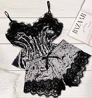Піжама жіноча, комплект майка і шорти з мереживом.