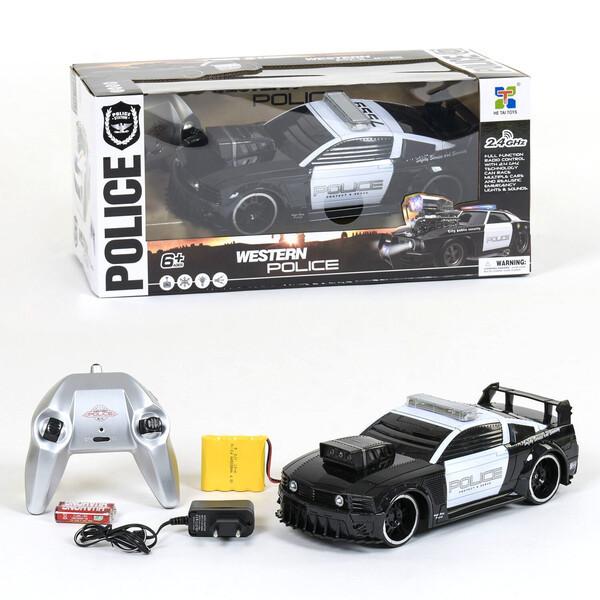 Полицейская машина на пульте управления для детей со светом и звуком Черно-белый (29428)