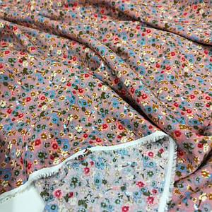 Ткань штапель принт цветочки на фрезовом