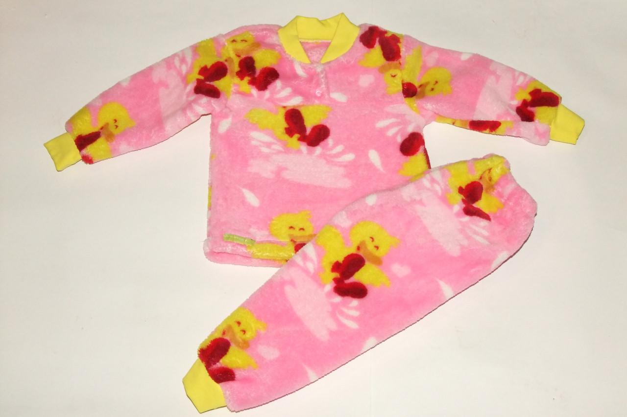Пижама махровая на девочку 26 р утенок розовая.