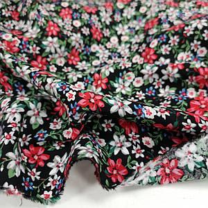 Ткань штапель принт цветочки на черном