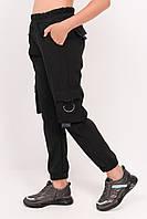 Штаны карго для девочки черные, школьные брюки с накладными карманами Рост: 122,128,134,140,146,152