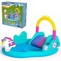 Дитячий ігровий надувний центр BW53097 з гіркою, ігровий надувний центр з басейном, басейн надувний з гіркою