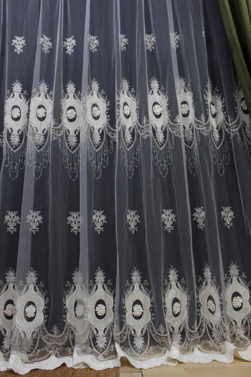 Тюль молочний з квітами 3Д зі вставками оксамиту і камінням у вітальню 9,6 м