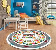 """Безкоштовна доставка! Круглий килим в дитячу """"Дорожні пригоди"""" діаметр 200 см"""