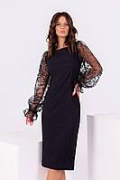 Екстравагантне чорне приталені плаття з вирізом човник і довгим ажурним рукавом. р. 42-46. Арт-4968/34, фото 1
