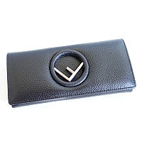 Женский черный кожаный кошелек Fendi 3797 на кнопке из натуральной кожи, фото 1