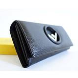 Жіночий чорний шкіряний гаманець Fendi 3797 на кнопці з натуральної шкіри, фото 2