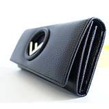 Жіночий чорний шкіряний гаманець Fendi 3797 на кнопці з натуральної шкіри, фото 5