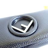 Жіночий чорний шкіряний гаманець Fendi 3797 на кнопці з натуральної шкіри, фото 3