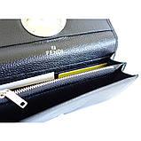 Жіночий чорний шкіряний гаманець Fendi 3797 на кнопці з натуральної шкіри, фото 4