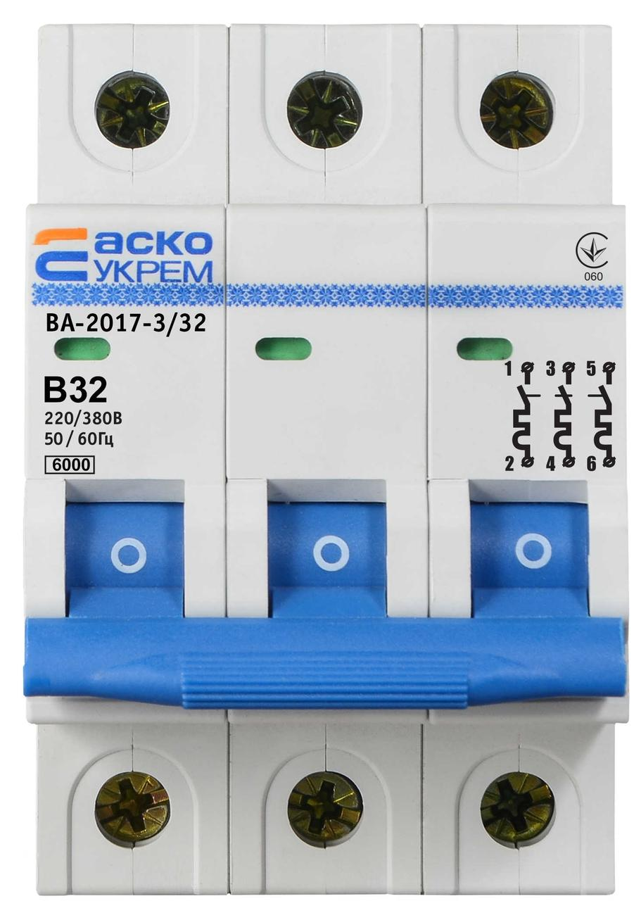 Автоматичний вимикач УКРЕМ ВА-2017/B 3р 32А АСКО
