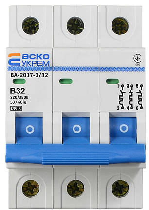 Автоматичний вимикач УКРЕМ ВА-2017/B 3р 32А АСКО, фото 2