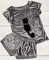 Велюровый комплект футболка и шорты, пижамы женские