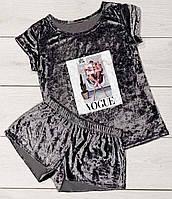 Велюровая пижама футболка  и шорты, Бархатные женские пижамы.