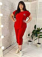 Женский летний костюм большого размера Инга р. 50-64 красный, фото 1