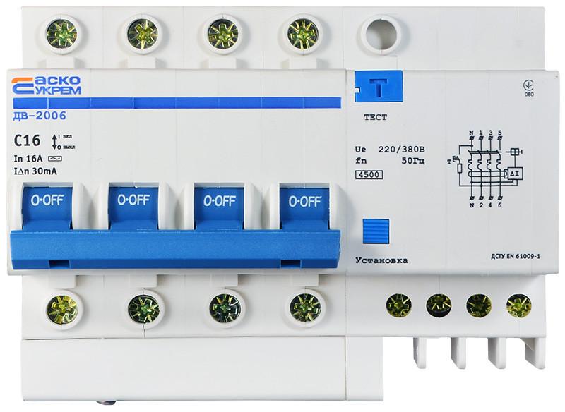 Диференційний вимикач ДВ-2006 4p 16А 30мА АСКО