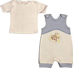 Літній костюм на хлопчика ріст 62 2-3 міс для новонароджених малюків комплект дитячий трикотажліто блакитний