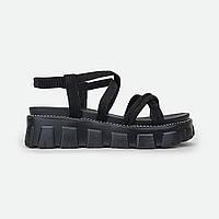 Удобные женские сандали на платформе черные Fashion 3639