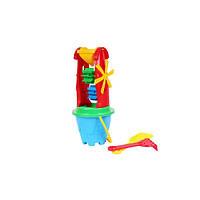 Игрушка для песка с набором ведро, лопатка, грабли Мельница-2 Технок 2742