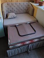 М'яка лавочка зі спальним місцем для балкона або лоджії (Сіра), фото 1