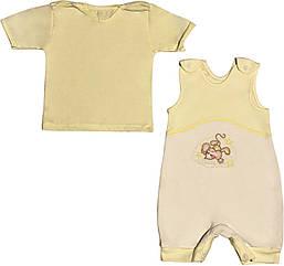 Летний костюм на мальчика рост 74 6-9 мес для новорожденных малышей комплект детский трикотажный лето жёлтый