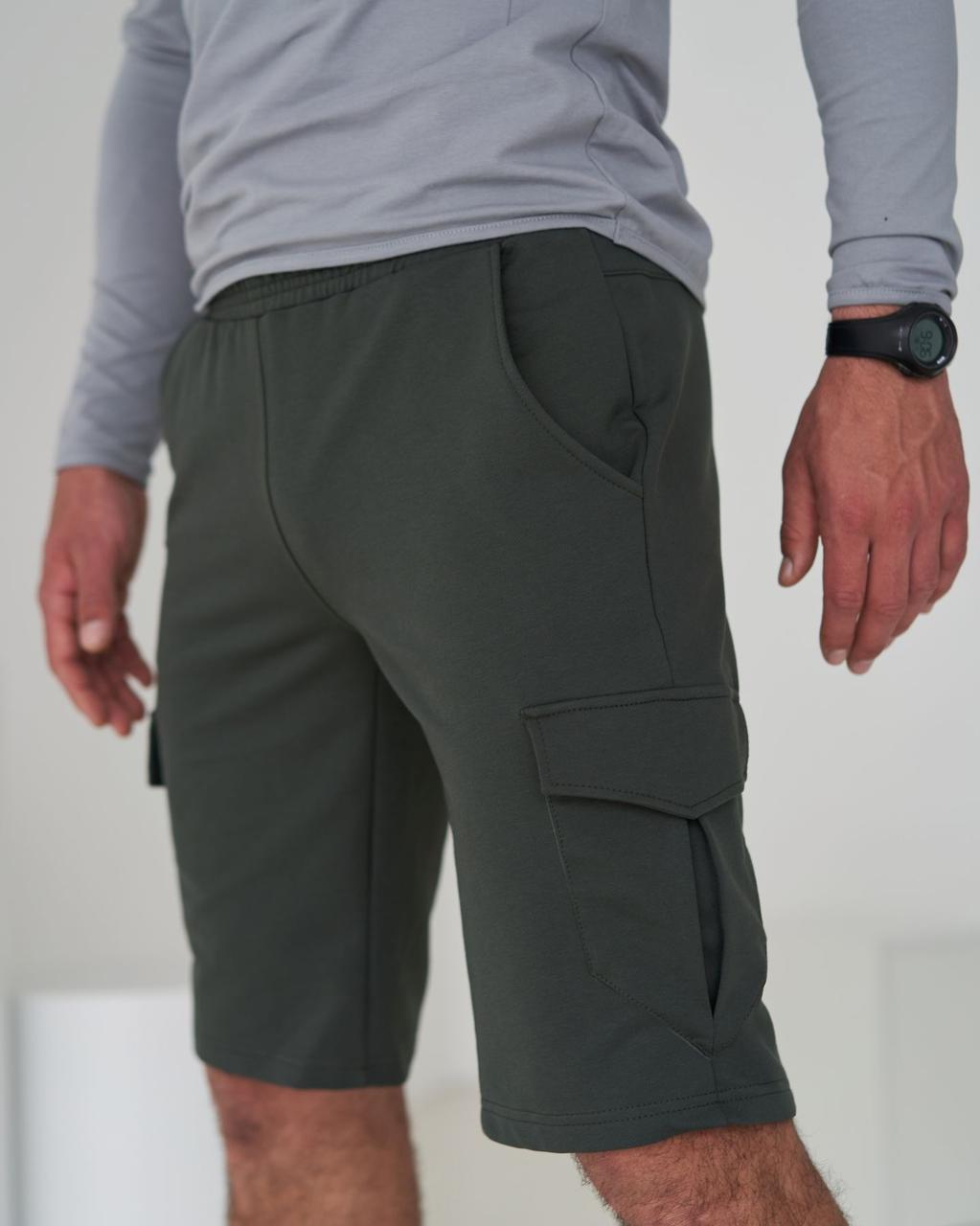 Мужские трикотажные шорты карго с карманами / Хаки спортивные шорты бриджи мужские