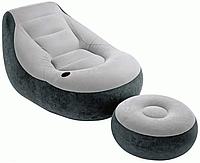Велюр кресло 68564  с подстаканником, с пуфиком
