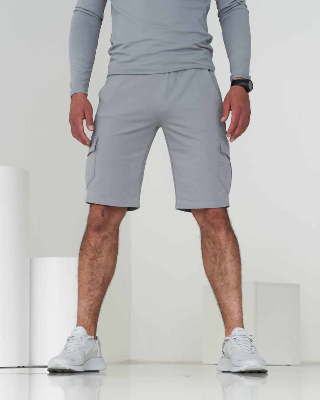 Чоловічі трикотажні шорти карго з кишенями / Світло-сірий спортивні шорти, бриджі чоловічі