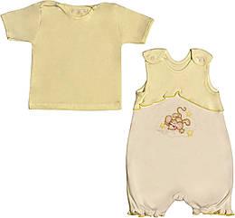 Летний костюм на девочку рост 68 3-6 мес для новорожденных малышей комплект детский трикотажный лето жёлтый