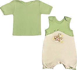 Літній костюм на дівчинку ріст 62 2-3 міс для новонароджених малюків комплект дитячий трикотаж літо салатовий