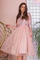 Коктейльное нарядное красивое приталенное платье с кружевным верхом и фатиновой юбкой р.42-46. Арт-4971/34, фото 1