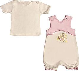 Літній костюм на дівчинку ріст 62 2-3 міс для новонароджених малюків комплект дитячий трикотаж літо рожевий