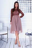 Коктейльне ошатне плаття з облягаючим верхом з візерунками з еко-шкіри та фатиновой спідницею р. 42-46. Арт-4972/34, фото 1