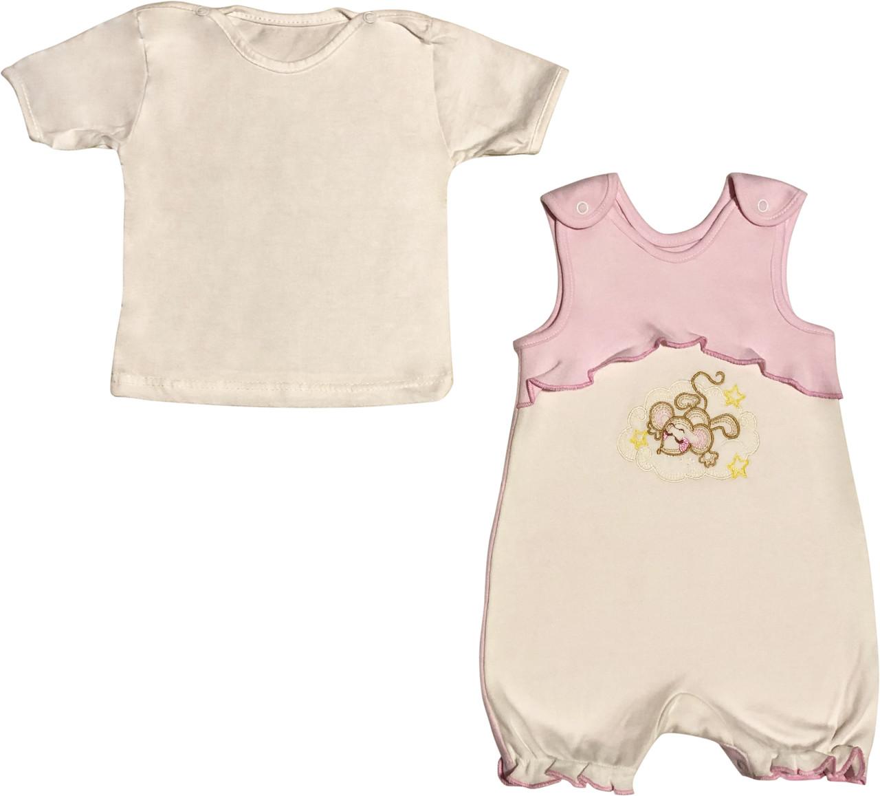 Летний костюм на девочку рост 74 6-9 мес для новорожденных малышей комплект детский трикотажный лето розовый