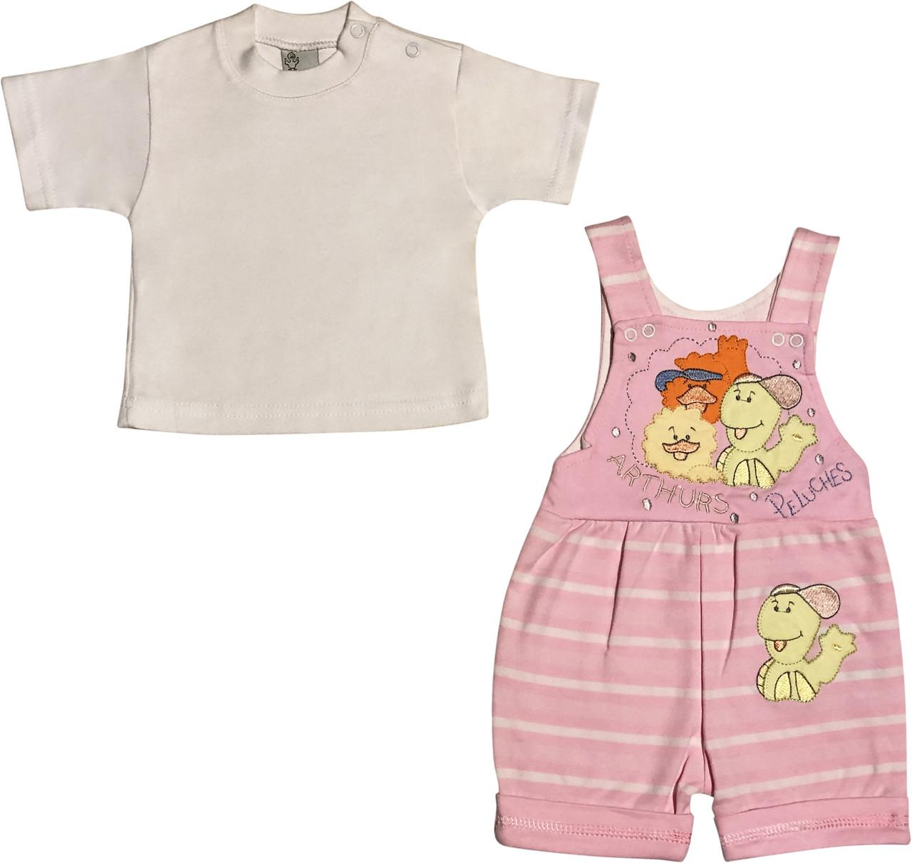 Літній костюм на дівчинку ріст 62 2-3 міс для новонароджених малюків комплект дитячий трикотажний літо рожевий