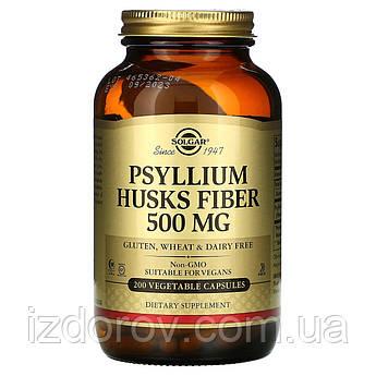 Solgar, Псиллиум в капсулах, Подорожник (молотая шелуха семян), Psyllium Husks Fiber, 500 мг, 200 капсул