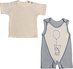 Летний костюм на мальчика рост 68 3-6 мес для новорожденных малышей комплект детский трикотажный лето голубой