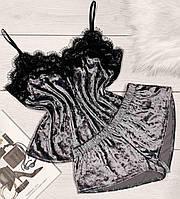 Велюровые пижамы, бархатная майка с кружевом и шорты 005.